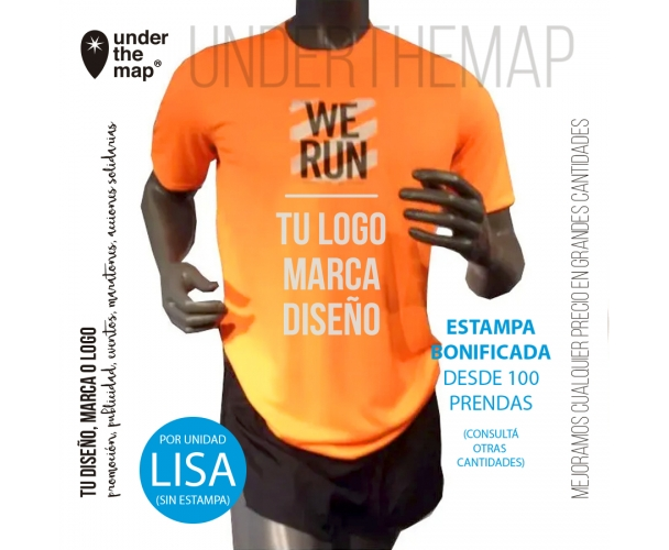 Camiseta deportiva, set deportivo (tipo dry fit) maratón sublimada (precio 50u.)
